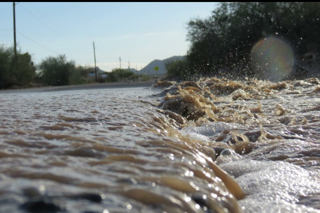 Wash overflowing in Bouse, Arizona